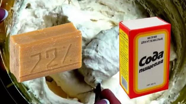 Сода и хозяйственное мыло для мази